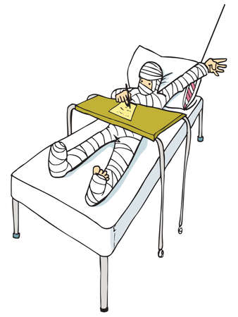 hospital cartoon: Cartoon of man with a body cast. Isolated on white