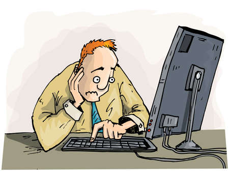 Cartoon man staring with concern at his monitor. Isolated on white Stock Vector - 10390389
