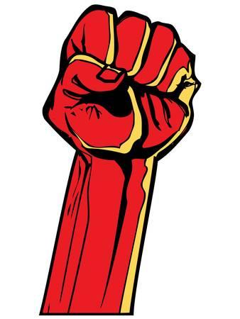 puÑos: Puño rojo estilizado celebrada en el aire. Aislado en blanco