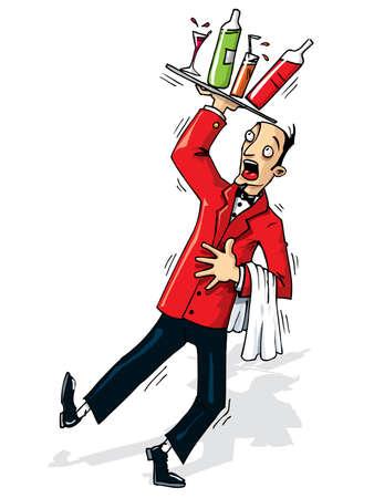 meseros: Camarero de dibujos animados a punto de derramar las bebidas. Aislado en blanco Vectores