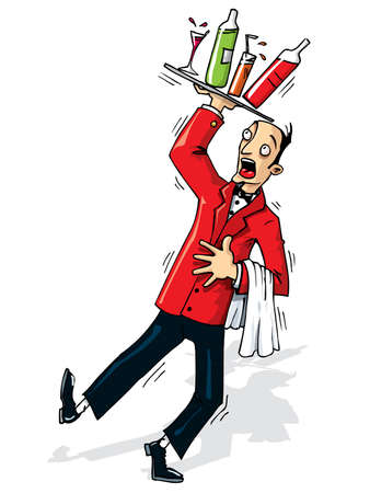 clip art wine: Cartoon waiter about to spill the drinks. Isolated on white