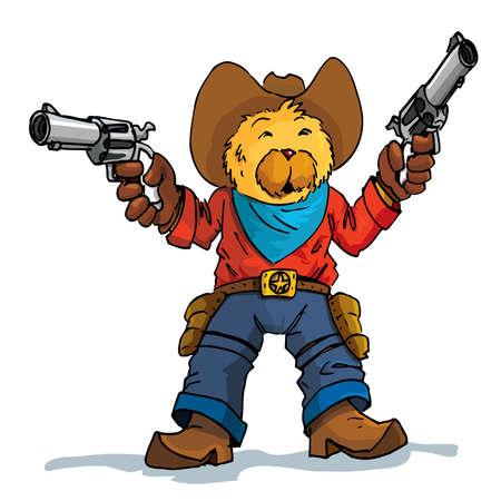 mano pistola: Cartoon di un cowboy orso con le pistole spianate. Isolato su bianco Vettoriali