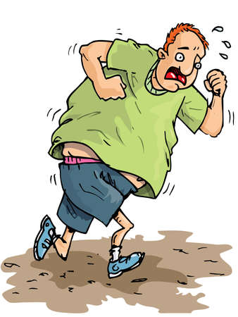 unfit: Cartoon of a fat jogger trying to get fit. Sweating and not enjoying it