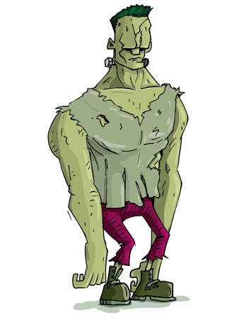 cartoon frankenstein: Cartoon Frankenstein monster with green skin for Halloween. Isolated on white