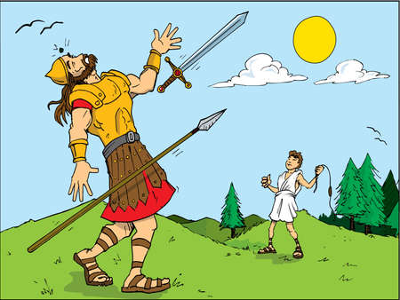 david and goliath: Cartoon of Goliath defeated by David. Bible story