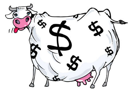 Cartoon of a cash cow with dollar signs on its body. Isolated on white