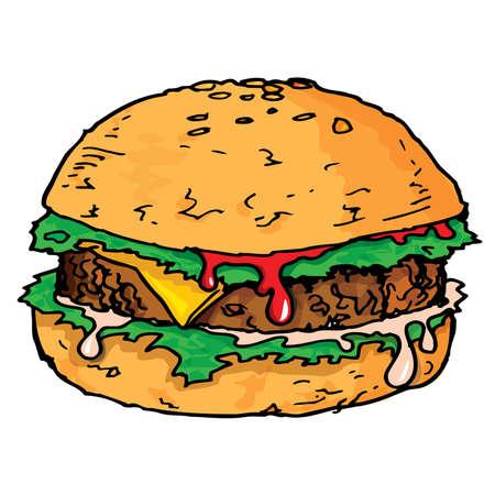 Illustratie van een grote sappige hamburger. Geïsoleerd