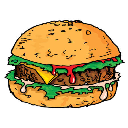 cheeseburgers: Illustration of a large juicy hamburger. Isolated