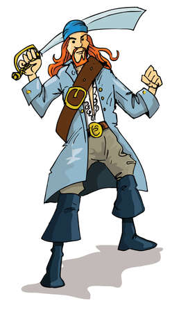 buccaneer: Cartoon of a pirate with a cutlass. Isolated