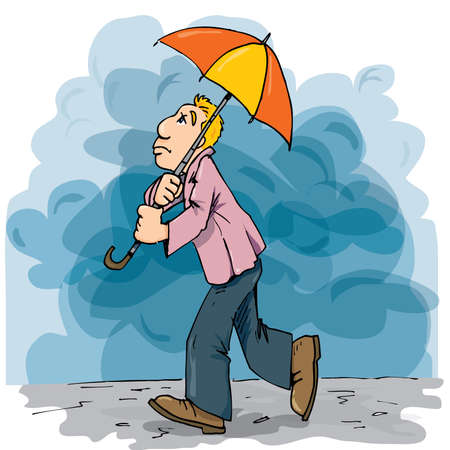 alone and sad: Cartoon of a man walking in the rain with an umbrella. Cloudy sky behind Illustration