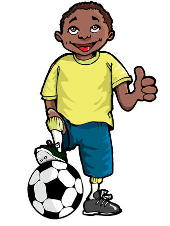 Cartoon of a black boy with a soccer ball. Isolated