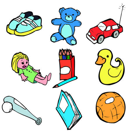 Collection of childrens traditional toys. Isolated set Vector