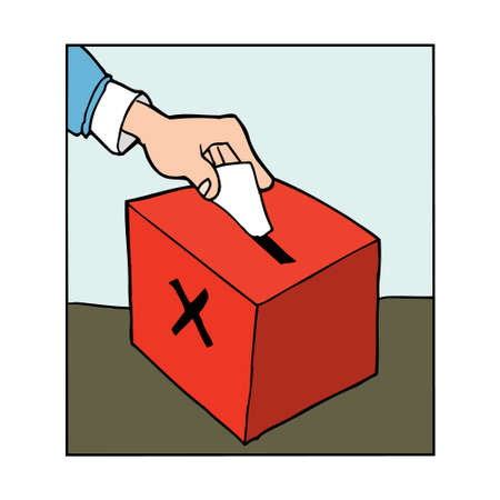 candidate: Cartoon Hand casting vote in a ballot box Illustration