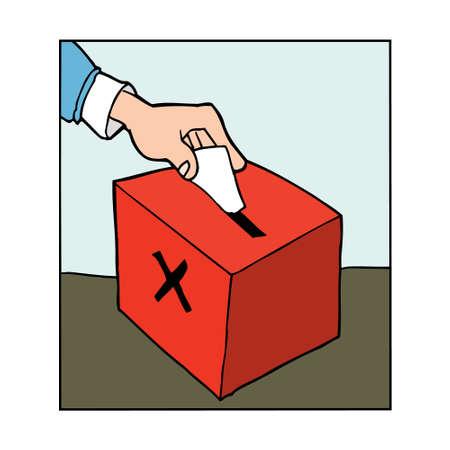 Cartoon Hand casting vote in a ballot box Vector