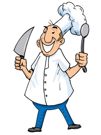 butcher knife: Cartoon of a chef with carving knife and ladle. Isolated on white Illustration