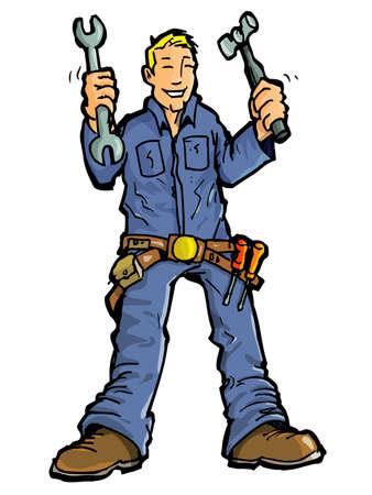 handy man: Cartone animato di un uomo di handy con tutti i suoi strumenti.Isolated on white Vettoriali