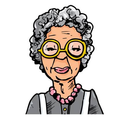 眼鏡の老婦人の漫画。白で隔離されます。  イラスト・ベクター素材