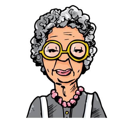 안경 늙은 여자의 만화. 흰색에 고립 일러스트