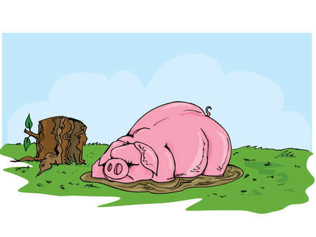 Cartoon pig wallowing in the mud. Grass and blue skies behind