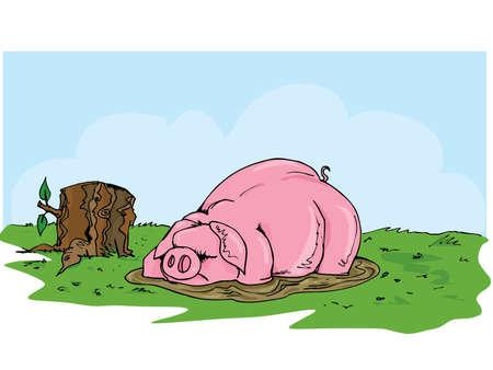 Cartoon varken wentelen in de modder. Gras en blauwe luchten achter