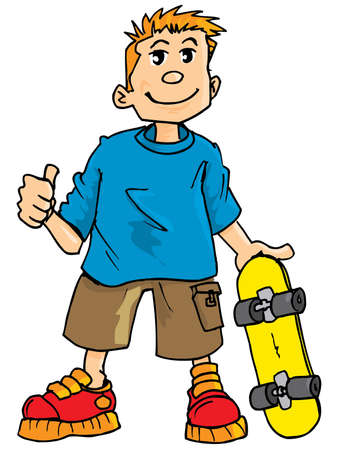 skateboarder: Cartoon of a kid with a skateboard. Islolated on white