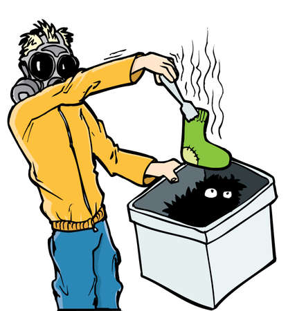 smelly: Cartoon man in gas mask with a stinky sock. Isolated Illustration