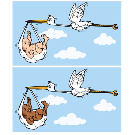 Cartoon stork flying with baby hanging from a napkin in its beak Vector