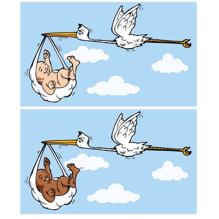 Cartoon cicogna volare con il bambino appeso a un tovagliolo nel becco