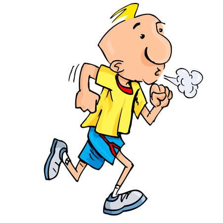 Cartoon van een Aanstotende man puffend inspanning. Geïsoleerd op wit