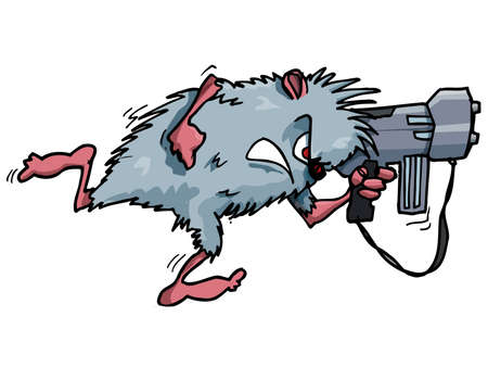 hostile: Cartoon rodent with a big gun. Isolated on white Illustration