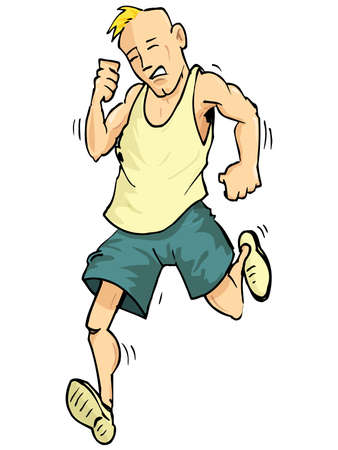 jogger: Cartoon of a running man. Isolated on white Illustration