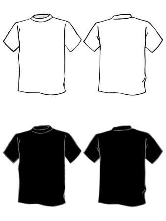 tissu blanc: Mod�le de T-shirt en noir et blanc. Isol�es Illustration