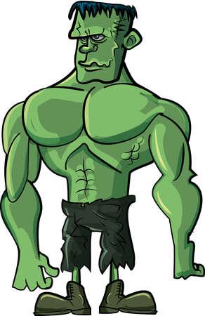 Cartoon green Frankenstein monster isolated on white Stock Vector - 10669037