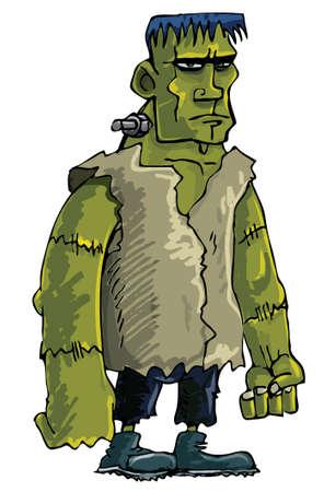 awkward: Monstruo de Frankenstein de caricatura verde aislado en blanco