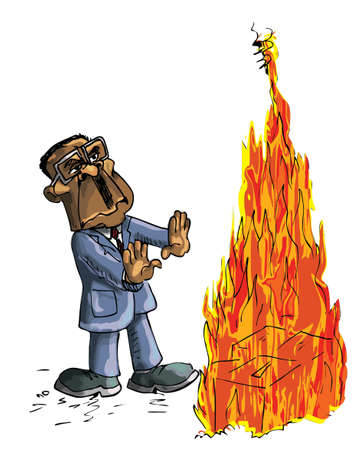 Caricature of Robert Mugabe burning ballot boxes Vector