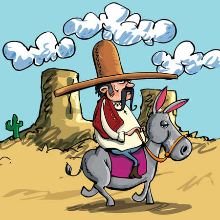 Cute Cartoon Mexican wearing a sombrero riding a donkey in the desert Vector
