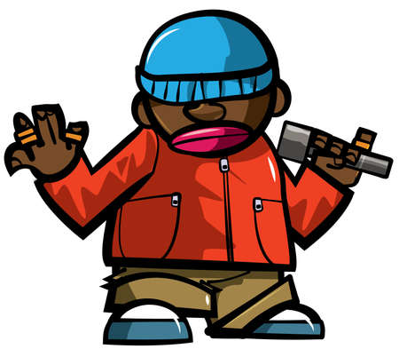 Cartoon hip hop man with microphone. Isolated on white Stock Vector - 10791804