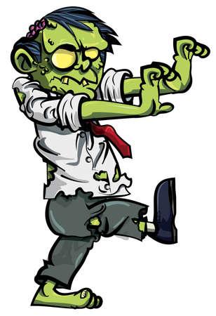 gruselig: Cartoon-Zombie mit K�pfchen ausgesetzt, isoliert auf weiss