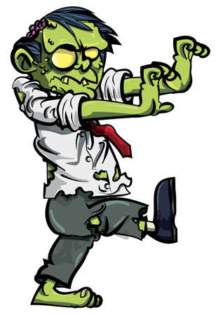 halloween cartoon: Cartoon zombie with brains exposed isolated on white Illustration
