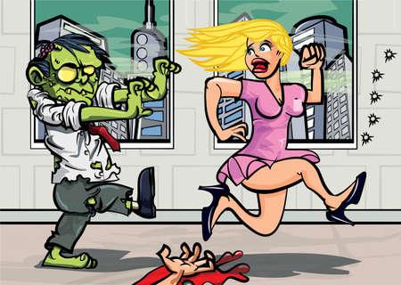 creepy monster: Cartoon impiegato zombie a caccia di una ragazza bionda in un ufficio