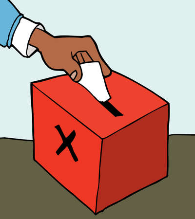voting ballot: Hand casting ballot in a ballot box Illustration