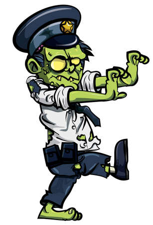 zombie: Cartoon zombie policeman isolated on white