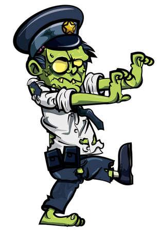 Cartoon zombie politieman op wit wordt geïsoleerd