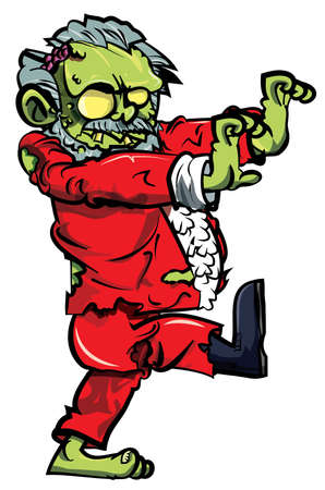 Cartoon zombie santa lurching. Isolated on white Vector