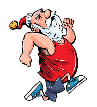 Cartoon Santa running for exercise.Isolated on white Ilustração