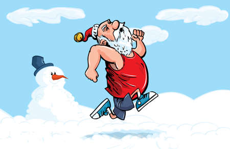 Cartoon Santa running for exercise in the snow with snowman Ilustração