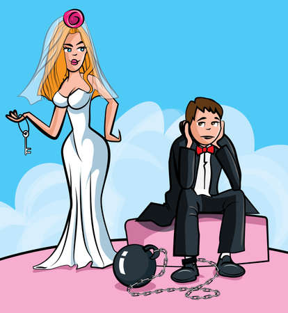 Cartoon Ball and chain. Just married man with ball and chain. Isolated Vector