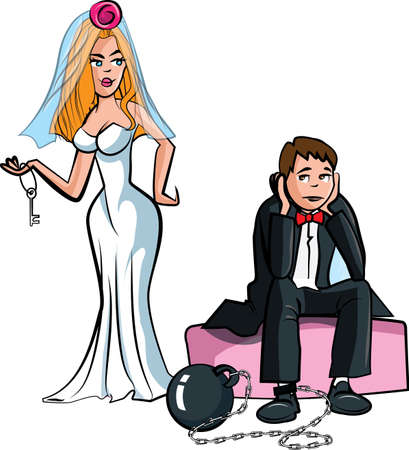 groom and bride: Cartoon Ball and chain. Just married man with ball and chain