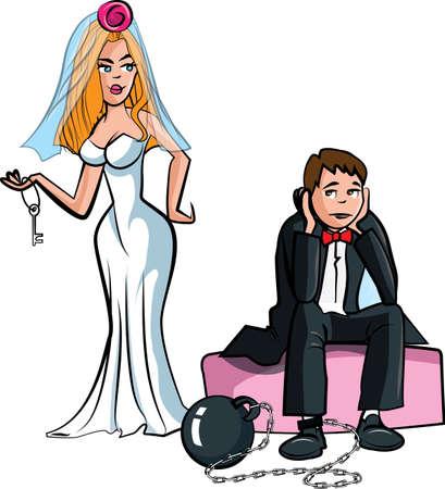 Cartoon Ball en keten. Net getrouwde man met bal en ketting Vector Illustratie