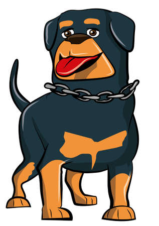 Cartoon Rottweiler with tongue sticking out. Isolated